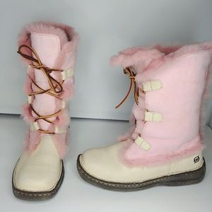 Born Pink Lace Up Leather Suede Shearling Boots 39